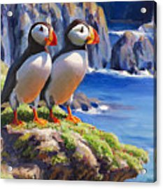 Horned Puffin Painting - Coastal Decor - Alaska Wall Art - Ocean Birds - Shorebirds Acrylic Print by Karen Whitworth