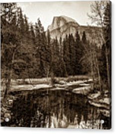 Reflecting Yosemite Half Dome Skies - Sepia Edition Acrylic Print by Gregory Ballos