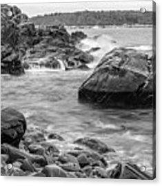 Rocky Coast Of Maine In Bw Acrylic Print by Doug Camara