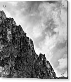 Rocky Mountain And Stormy Cloudy Sky Acrylic Print by Michalakis Ppalis