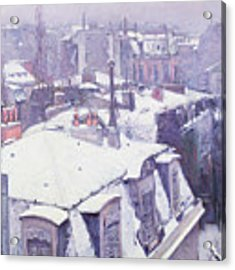 Roofs Under Snow Acrylic Print by Gustave Caillebotte