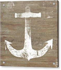 Rustic White Anchor- Art By Linda Woods Acrylic Print