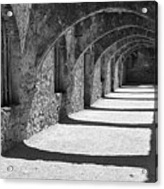 San Antonio Mission San Jose - Black And White Acrylic Print by Gregory Ballos