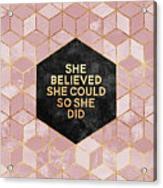 She Believed She Could Acrylic Print by Elisabeth Fredriksson
