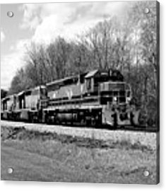 Sprintime Train In Black And White Acrylic Print by Rick Morgan