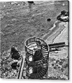 Stairs To Nowhere Pismo Beach Black And White Acrylic Print by Priya Ghose