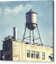 Steel Water Tower, Brooklyn New York Acrylic Print by Gary Heller