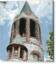 Stone Church Bell Tower Acrylic Print by Dominic White