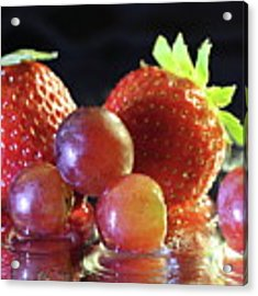 Strawberries And Grapes Acrylic Print by Angela Murdock