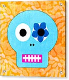 Sugar Skull Blue And Orange Acrylic Print