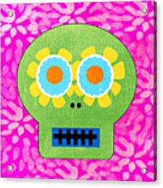 Sugar Skull Green And Pink Acrylic Print