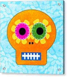 Sugar Skull Orange And Blue Acrylic Print