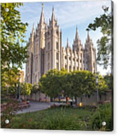 Summer At Temple Square Acrylic Print by Emily Dickey