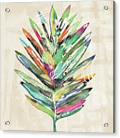 Summer Palm Leaf- Art By Linda Woods Acrylic Print by Linda Woods