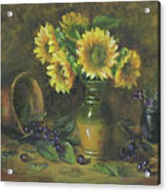 Sunflowers Acrylic Print by Katalin Luczay