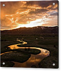 Sunrise Over Winding River Acrylic Print by Wesley Aston