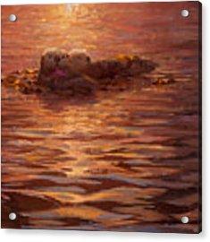 Sea Otters Floating With Kelp At Sunset - Coastal Decor - Ocean Theme - Beach Art Acrylic Print by Karen Whitworth