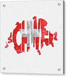 Switzerland Typographic Map Flag Acrylic Print