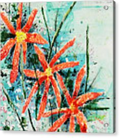 Three Red Flowers Acrylic Print by Teddy Campagna