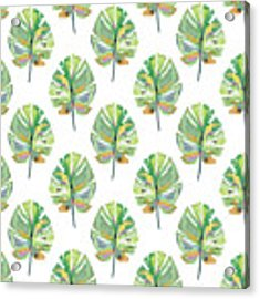 Tropical Leaves On White- Art By Linda Woods Acrylic Print by Linda Woods