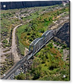 Up Tracks Cross The Mojave River Acrylic Print by Jim Thompson