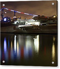 Uss Midway At Night Acrylic Print by Nathan Rupert