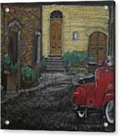 Vespa In The Rain Acrylic Print by Richard Le Page
