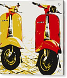 Vespa Scooter Pop Art Acrylic Print by Michael Tompsett