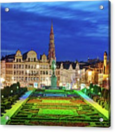 View Of Brussels From Jardin Du Mont Des Arts Acrylic Print by Barry O Carroll