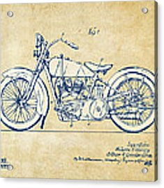 Vintage Harley-davidson Motorcycle 1928 Patent Artwork Acrylic Print