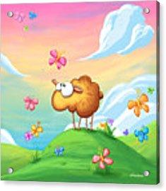 Wallo The Sheep - Pink Acrylic Print by Tooshtoosh
