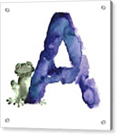 Watercolor Alphabet A Frog Painting Acrylic Print