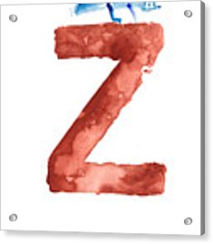 Watercolor Alphabet Z Letter Abstract Crocodile Large Poster Acrylic Print