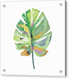 Watercolor Palm Leaf- Art By Linda Woods Acrylic Print by Linda Woods