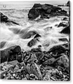 Waves Against A Rocky Shore In Bw Acrylic Print by Doug Camara