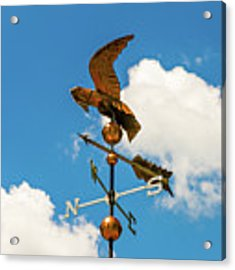Weather Vane On Blue Sky Acrylic Print by D K Wall