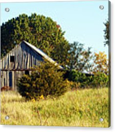 Weathered Barn In Fall Acrylic Print by Cricket Hackmann