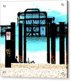 West Pier Graphic Acrylic Print by Chris Lord