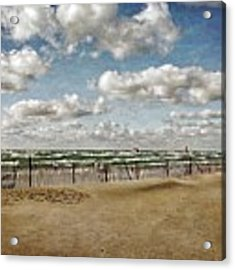 Winter Fences In Grand Haven 3.0 Acrylic Print by Michelle Calkins