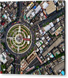 Wongwian Yai Roundabout Surrounded By Buildings, Bangkok Acrylic Print by Pradeep Raja PRINTS