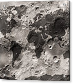 World Map On The Moon's Surface Acrylic Print