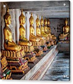 Golden Buddhas Acrylic Print by Adrian Evans