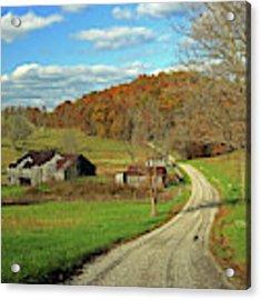 A Farm On An Autumn Day Acrylic Print by Angela Murdock