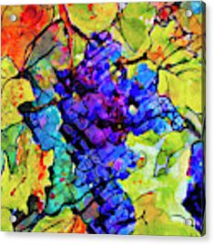 Abstract Blue Grapes Acrylic Print by Ginette Callaway