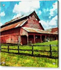 Along The Rural Road Old Barn In Tennessee IIi Acrylic Print by Rhonda Strickland