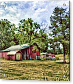 Along The Rural Road Old Barn In Tennessee Acrylic Print by Rhonda Strickland
