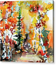 Autumn Forest Symphony Watercolors Acrylic Print by Ginette Callaway