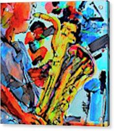 Baritone Sax Player Modern Music Art  Acrylic Print by Ginette Callaway