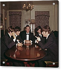 Beatles With Epstein Acrylic Print by Paul Popper/popperfoto