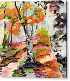 Birch Trees Around The Bend Acrylic Print by Ginette Callaway